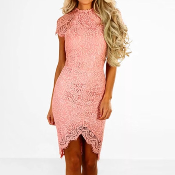 Dresses & Skirts - Pink delicate lace round neck short sleeve dress